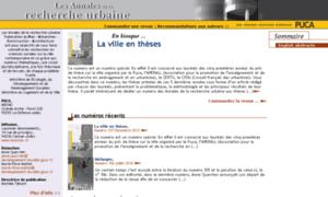 Annalesdelarechercheurbaine.fr thumbnail